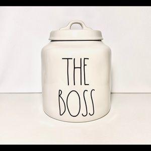 Rae Dunn THE BOSS ceramic pet treat canister/jar